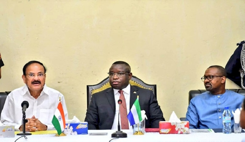 India and Sierra Leone sign six agreements for cooperation in various fields in the presence of Vice President Venkaiah Naidu and the President of the host nation Julius Maada Bio.