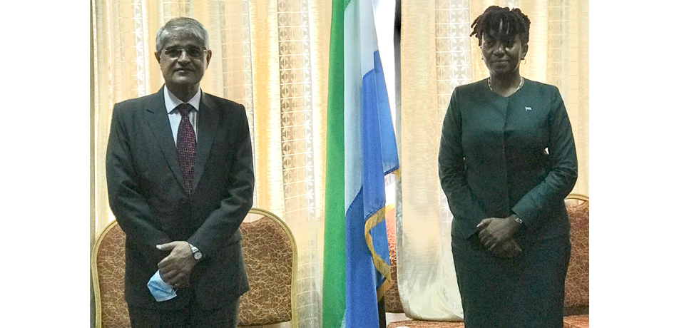 High Commissioner Rakesh Arora with Sierra Leone Foreign Minister H.E. Ms. Nabeela Tunis (8 Oct 2020)