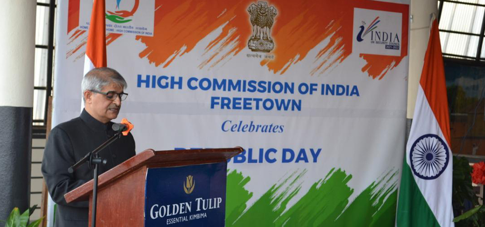 High Commission of India in Freetown celebrates 72nd Republic Day of India - the first since establishment of the resident mission - High Commissioner read Hon'ble President's Address to the Nation, full speech @ https://pib.gov.in/PressReleasePage.aspx?PRID=1692289