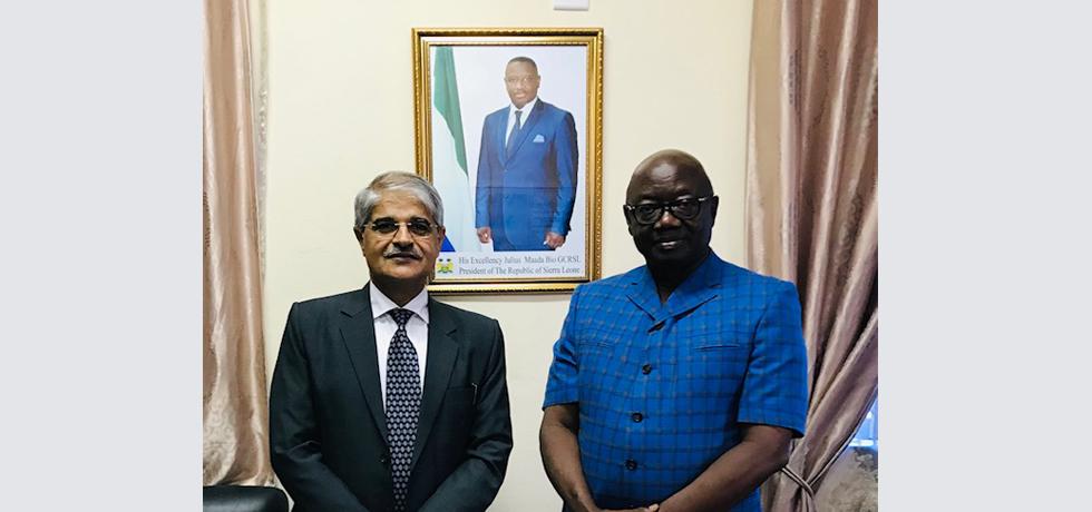 High Commissioner with Energy Minister H.E. Mr. Alhaji Kanja Ibrahim Sesay (3 Dec 2020)