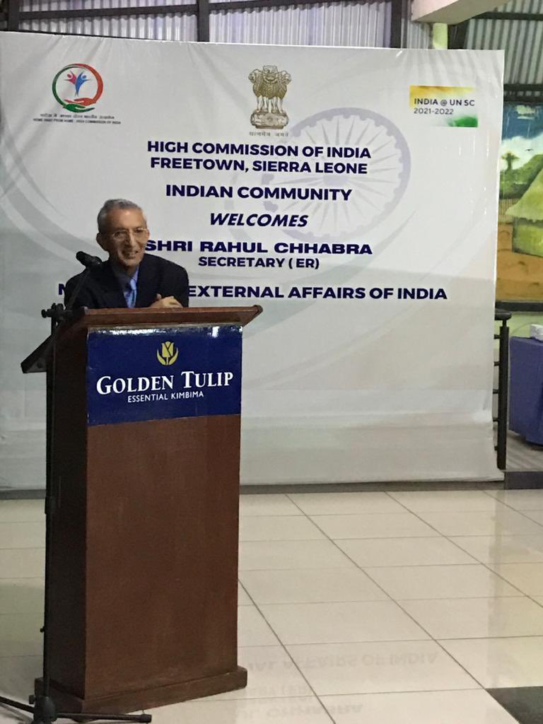 During his visit to Freetown for Foreign Office Consultation, Shri Rahul Chhabra, Secretary (ER), Ministry of External Affairs of India interacted with the Indian community at a Reception hosted in his honour.